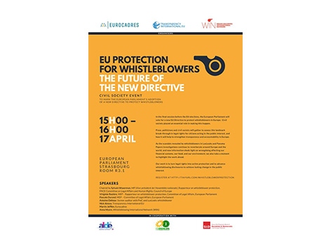 Event at European Parliament on the future of new Whistleblower Directive, 17th April 2019